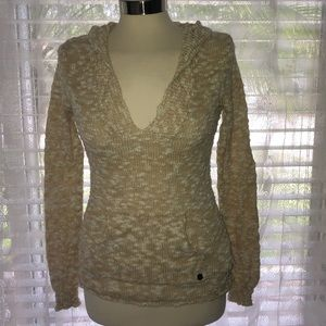 ROXY BEIGE, THIN, HOODED SWEATER with pocket pouch